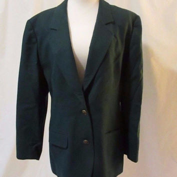 Pendleton Wool Blazer Jacket Women's 14 Hunter Green 2 Button Structured Blazer