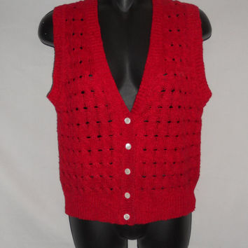 Vintage 80s Red Sweater Cardigan Vest