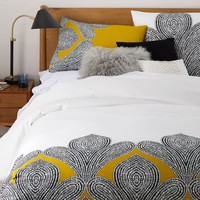 Organic Fleur Sateen Duvet Cover, Twin, Lemon Curry