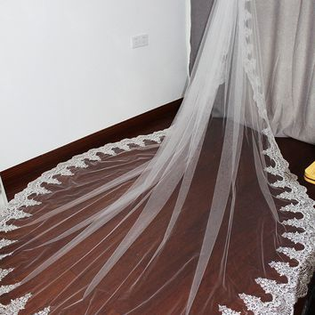 Long Lace Cathedral Wedding Veil with Comb