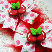 Girls Hair Bows Pigtail Set Sister Bows Baby Summer Time Cherries Bow Set for Babies Girls Teens and Adults Kawaii Fashion