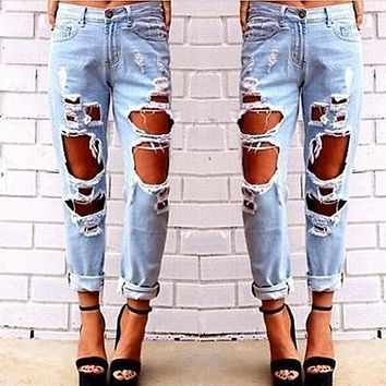 New Ripped Jeans Women Denim Pants Holes High Waist Casual Trousers Pencil Pants Destroyed Torn Boyfriend Jeans for Women