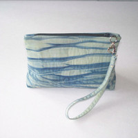 Wristlet Clutch - Hand Dyed Shibori - Greens and Blues - Quilted Pouch