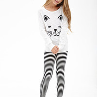 FOREVER 21 GIRLS Cat Face Sweater (Kids) Cream/Black