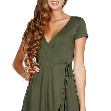 Short Sleeve V-Neck Dress Heather Olive *MADE IN USA*