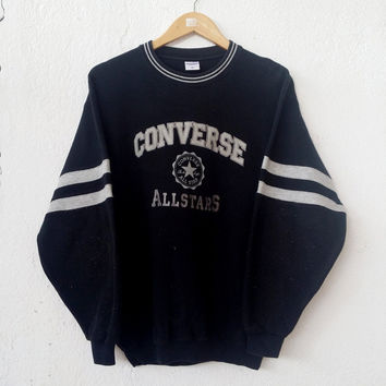 90's CONVERSE All Star Chuck Taylor Big Logo Embroided Black Rare Sweatshirt Jumper Sweater Pull Over Swag Hip Hop Streetwear Size M VSS3