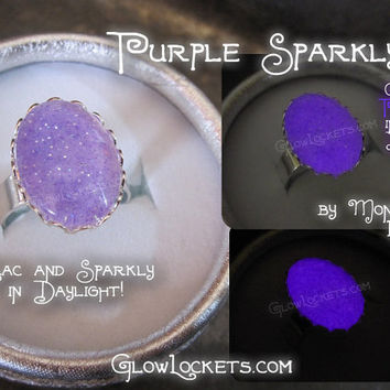 Purple Sparkly Glow Glass  Shiny Adjustable Ring