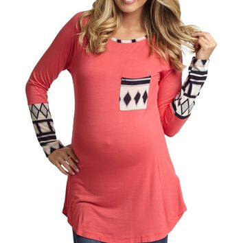 Coral Tribal Print Accent Maternity Top