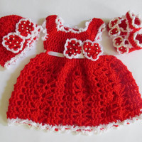 Crochet dress  baby dress baby clothes first outfit take home hospital matinee infant frock newborn dress