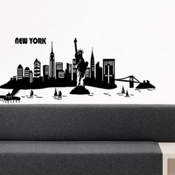 Wall Vinyl Sticker Decals Mural Design New York State Liberty City View Art Silhouette Landscape Buildings 753