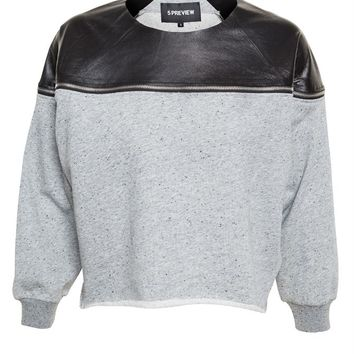 David Sweatshirt with Leather Detail - 5 PREVIEW