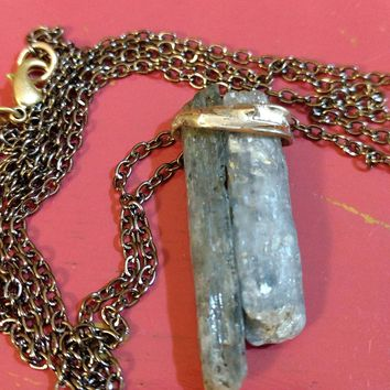 Blue Kyanite Necklace Bohemian Style Silver Soldered Kyanite Stone With Gunmetal Chain