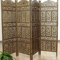 Flower Jali 4-panel Screen (India) | Overstock.com