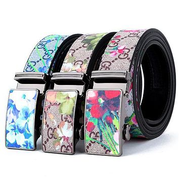 Gucci Popular Women Men Personality Floral Print Smooth Buckle Belt Leather Belt