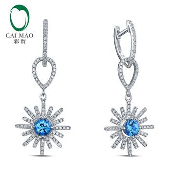 Solid 14K White Gold Natural Topaz & Diamond Drop Earrings Free Shipping