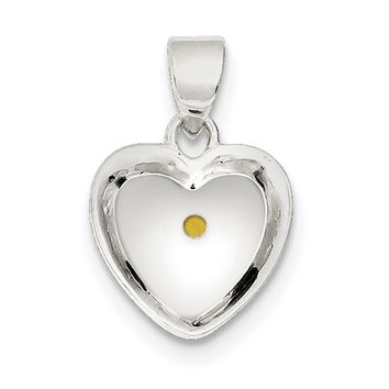 Sterling Silver Enameled with Mustard Seed Heart Pendant QC6698