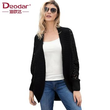 Deodar Autumn Spring Women Casual Long Sleeve Knitted Cardigans 2018 New Crochet Ladies Sweaters Fashion Tricotado Cardigan
