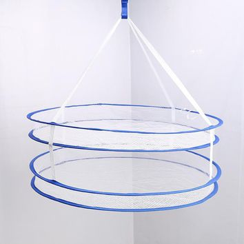 Double Layer Drying Rack Folding Hanging Clothes Net Dry Rack