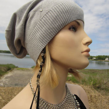Summer Slouch Beanie Gray Hat BOHO Slouchy Baggy Back Grey PIMA Cotton with Crystals  A1155
