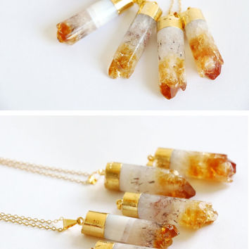 Citrine raw crystal necklace,raw stone jewelry,gemstone necklace, raw quartz necklace, OOAK, dipped gold crystal, everyday layered necklace,