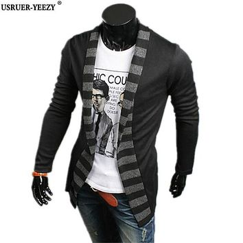 USRUER-YEEZY Sweater Men New Brand Fashion Cardigan Casual Sweater Stripes Spell Color