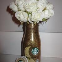 Starbucks Gold Glitter Flower Vase, Make up brush Holder, Jar