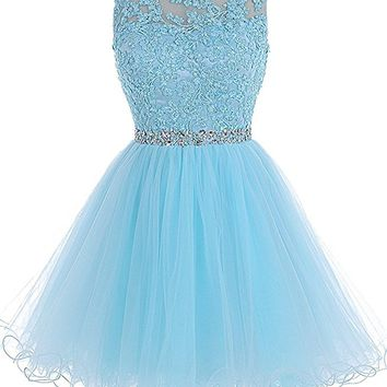 Women's Bateau Keyhole Back Tulle A Line Short Dress For Senior Homecoming