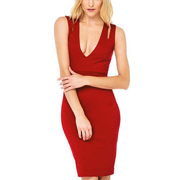 Red V-Neck Cutout Sleeveless Bodycon Dress