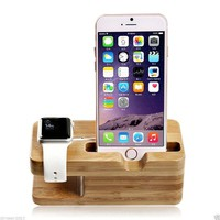 Apple Watch Stand, Kasima Natural Bamboo Wood Charging Stand Dock Station for Apple Watch 38mm/ 42mm and iPhone