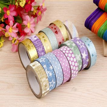 10pcs 1.5cmx3m Glitter Pattern Washi Tape Adhesive Sticker Decorative Christmas DIY Crafts