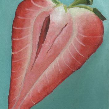 Strawberry Half Painting - Small Original in Pink and Turquoise - Perfect New Home Gift