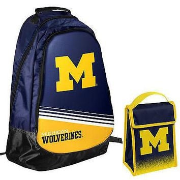 Michigan Wolverines NCAA One Size Backpack Core Bag Insulated Lunch Box