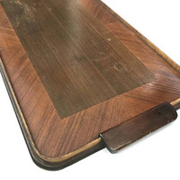 Vintage Wood Tray with Handles Large Rectangular Tray Wood Inlay Serving Tray Ottoman Tray Breakfast Tray Rustic