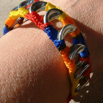 ReCycladelic Upcycled Pop Top Bracelet Bold Rainbow in by lanmom