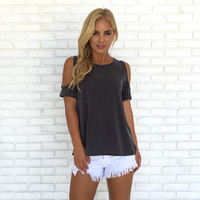 Open Up Cold Shoulder Blouse In Charcoal Grey