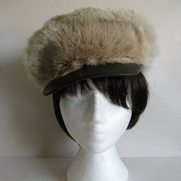 Vintage 1970s Fur Cap Mad Hatter Beige Rabbit Fur Leather Ladies Hat Chapeau