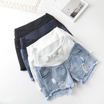Women's Maternity Low-waisted Denim Shorts