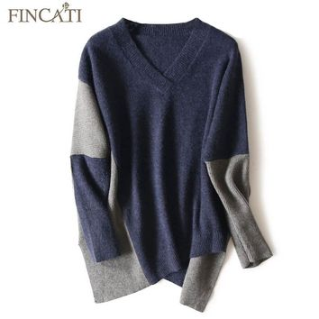 Cashmere Sweater Women 2017 New Autumn Winter Pure Cashmere Wool Fluffy V Neck Contrast Color Aysmmetrical Length Pullover Pulls