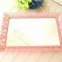 Pink Filigree Mirror Tray faux pearl accents distressed, 1950's vanity mirror tray perfume tray dressing table boudoir decor