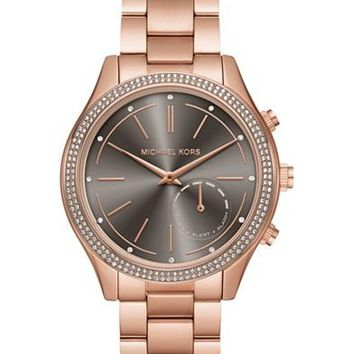 Michael Kors Access Women's Slim Runway Rose Gold-Tone Bracelet Hybrid Smart Watch 42mm MKT4005