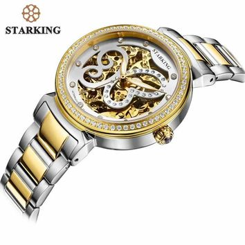 Starking Automatic Mechanical Women Watch Hollow Skeleton Full Steel Lady Watch Women Montre Femme Orologio Donna