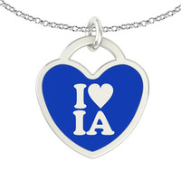 I Love Iowa Sterling Silver Heart Necklace