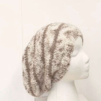 Slouchy beanie hat, light tan color with brown stripes, knitted hat  5201