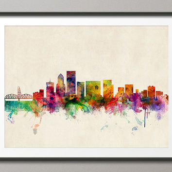 Portland Oregon Skyline, Art Print - 12x16 up to 24x36 inch (584)