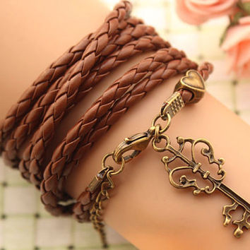 KEY bracelet,retro love heart Pandora bead Multilayer bracelet,SUPER COOL,brown leather bracelet---B234