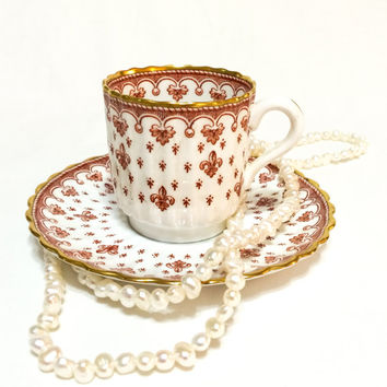 Spode Fleur de Lys Red Demitasse Cup, Fleur de Lis Cup & Saucer,English Bone China, 1961-1994, Vintage