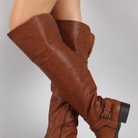 Wild Diva Lounge Buckled Hardness Over-The-Knee Boots