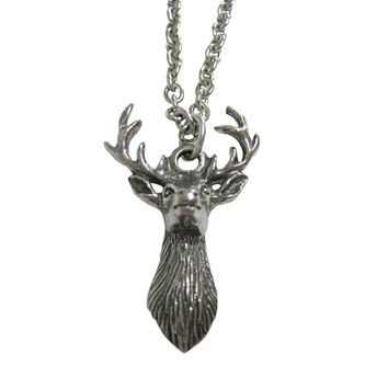 Silver Toned Textured Stag Deer Head Pendant Necklace