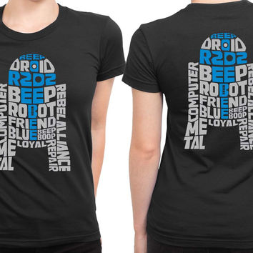 Star Wars R2D2 Typography 2 Sided Womens T Shirt