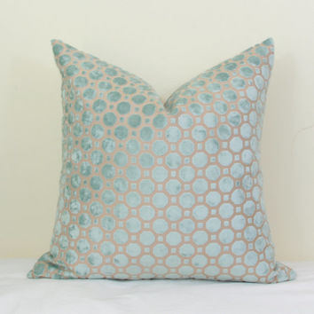 Aqua geo velvet throw pillow cover 18x18 20x20 22x22 24x24 26x26 Euro sham Lumbar pillow Aqua velvet Mineral velvet Robert Allen pillow